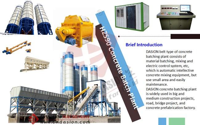 Hzs90 Concrete Batching Plant 90m3 H